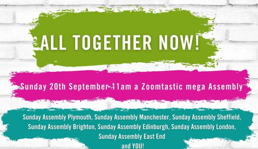UK-wide Mega online Sunday Assembly: Sun 20 September,  11am